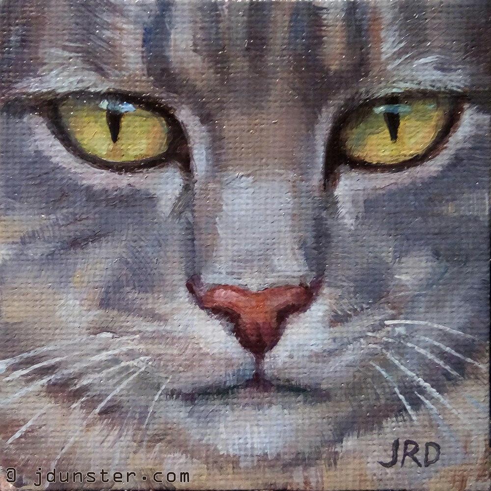 """So Seriously Grey [MINI PAINTING]"" original fine art by J. Dunster"