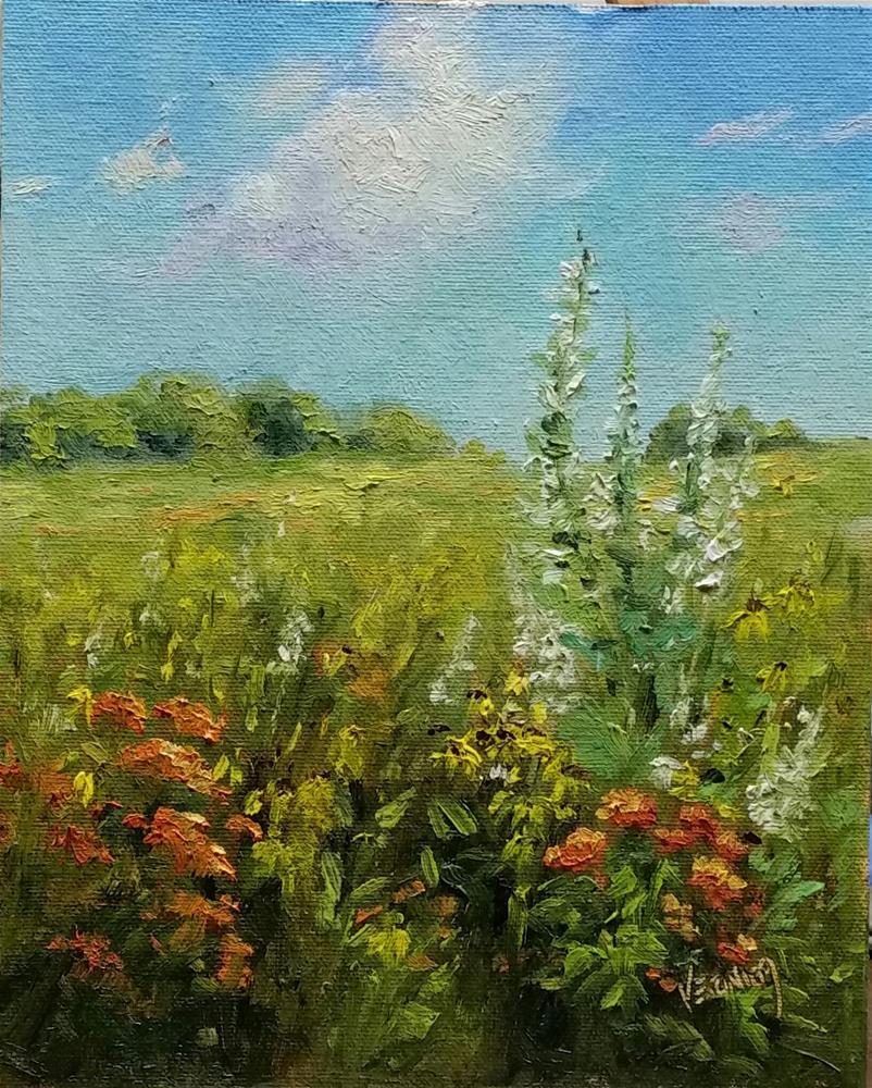 """Summer wildflowers at Shaw-en plein air"" original fine art by Veronica Brown"