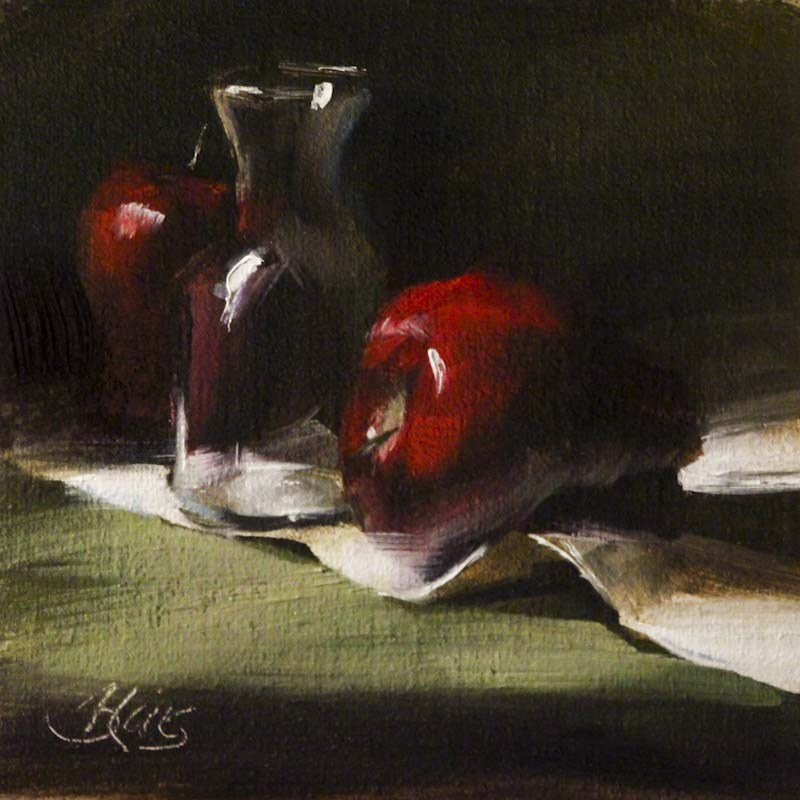 """Mini Decanter and Apples"" original fine art by Pamela Blaies"
