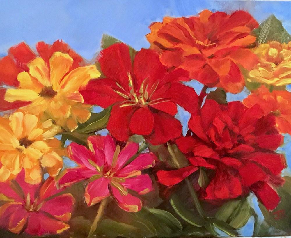"""""""Zinnia Medley"""" original fine art by June Rollins"""