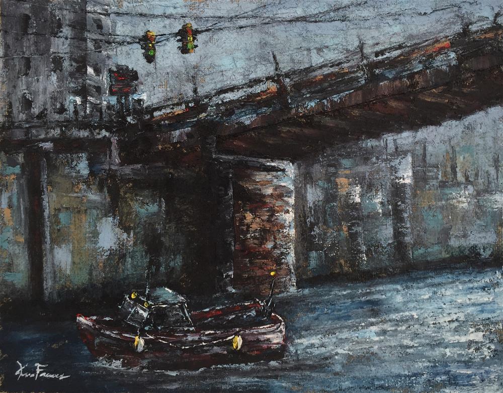 """City Bridge"" original fine art by Ken Fraser"