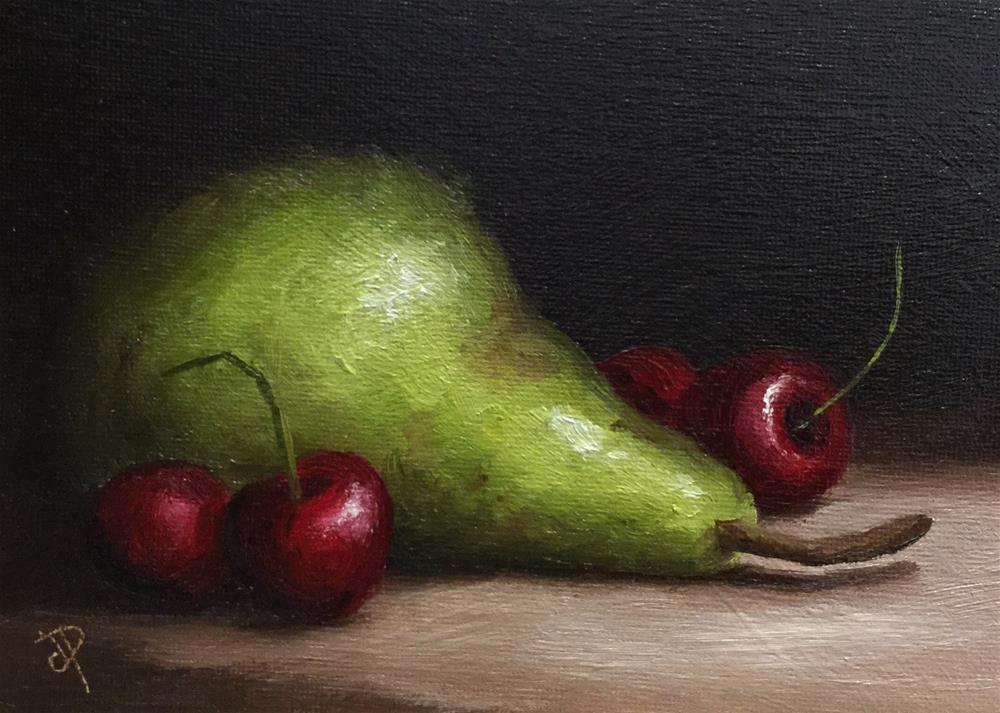 """Pear with Cherries"" original fine art by Jane Palmer"