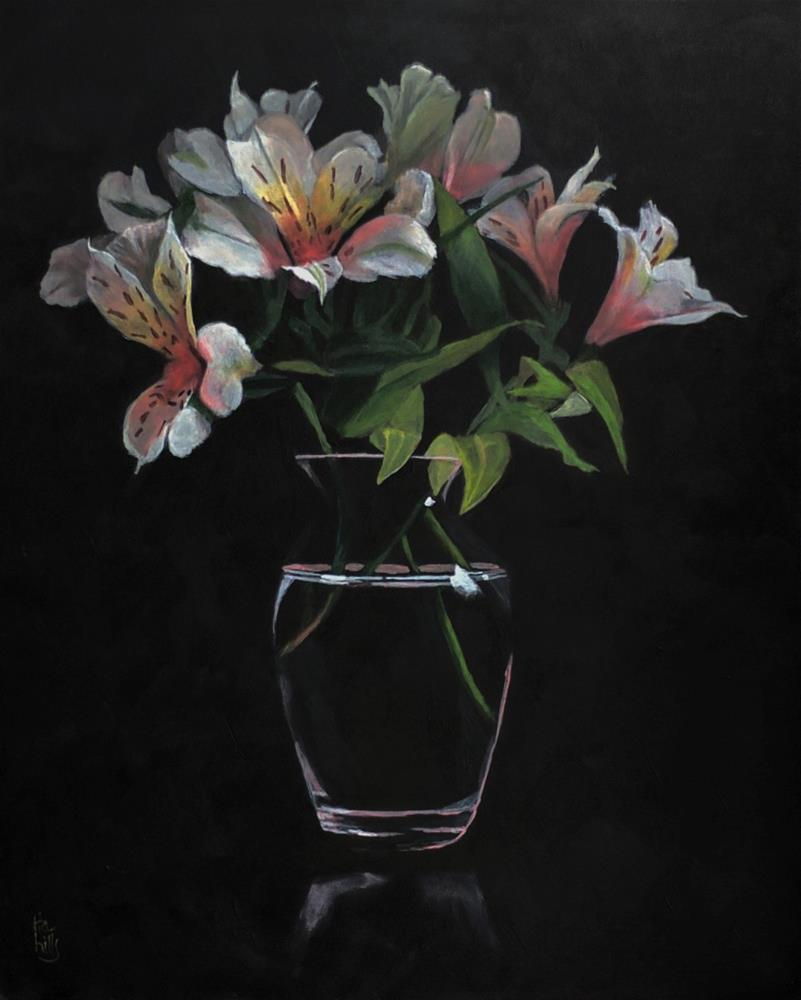 """Lilies Bouquet acrylic painting"" original fine art by Ria Hills"