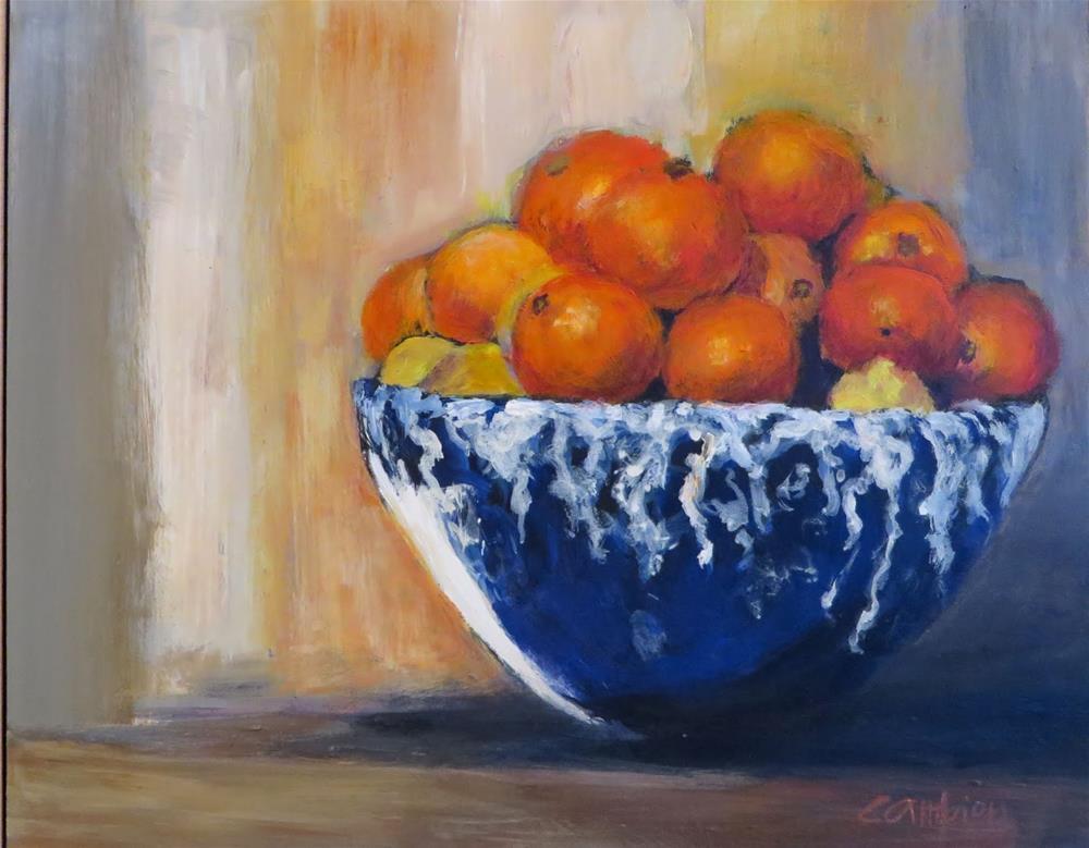 """904 Italian Oranges on a Ledge"" original fine art by Diane Campion"