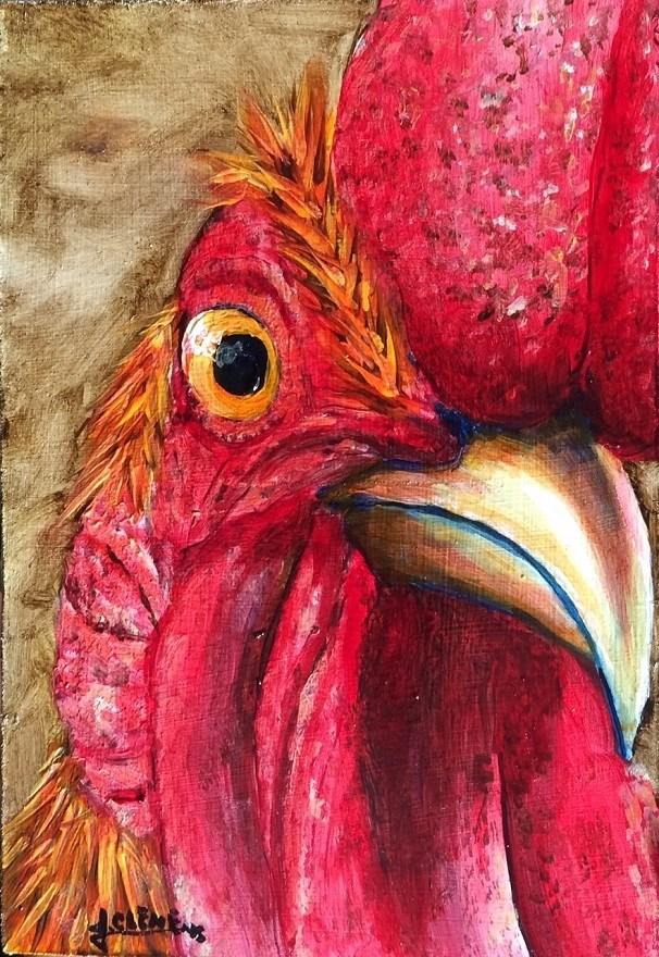 """The Cow said What"" original fine art by Jolynn Clemens"