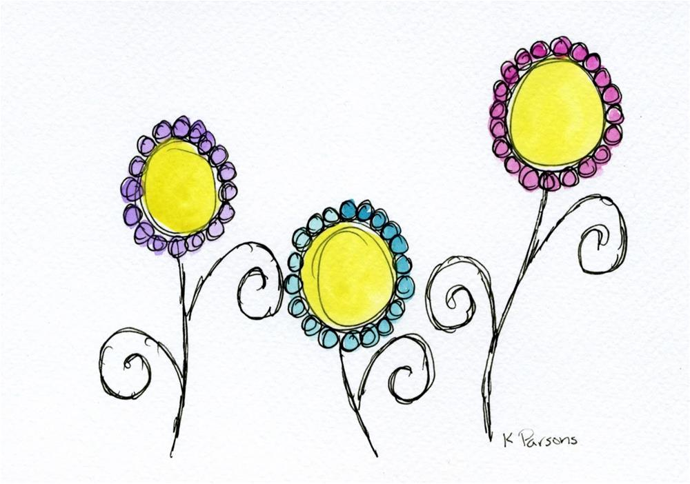 """Three Little Whimsies"" original fine art by Kali Parsons"