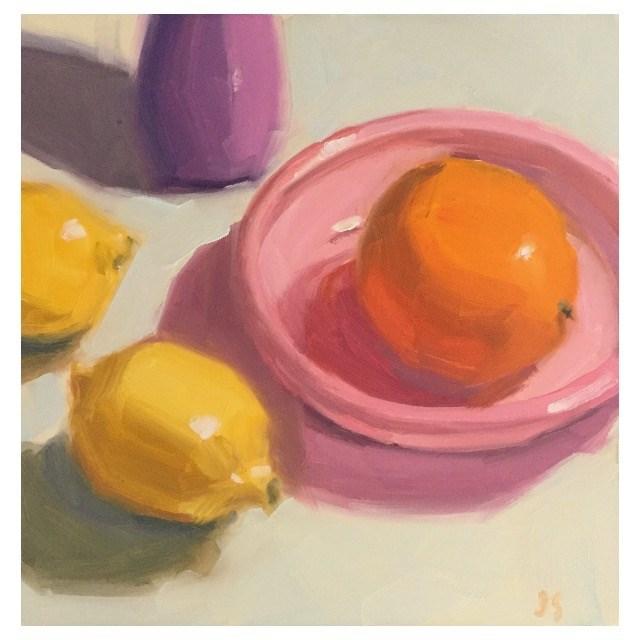 """Pink and Orange"" original fine art by Jamie Stevens"