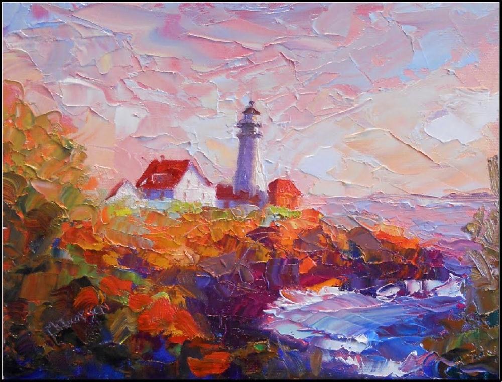 """Portland Head Light, 12x9, oil on canvas, palette knife, impressionism, Maryanne Jacobsen award-wi"" original fine art by Maryanne Jacobsen"