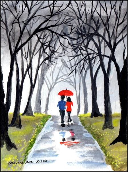 """Just a Walk in the Rain"" original fine art by Patricia Ann Rizzo"