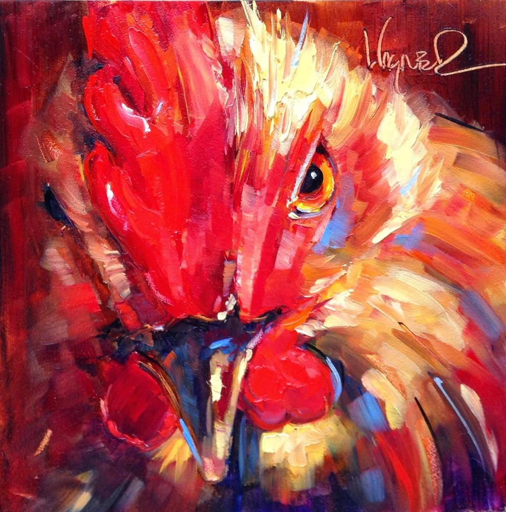 """""""Loving Color Day 15- ORIGINAL  ROOSTER  PAINTING in OILS by OLGA WAGNER"""" original fine art by Olga Wagner"""