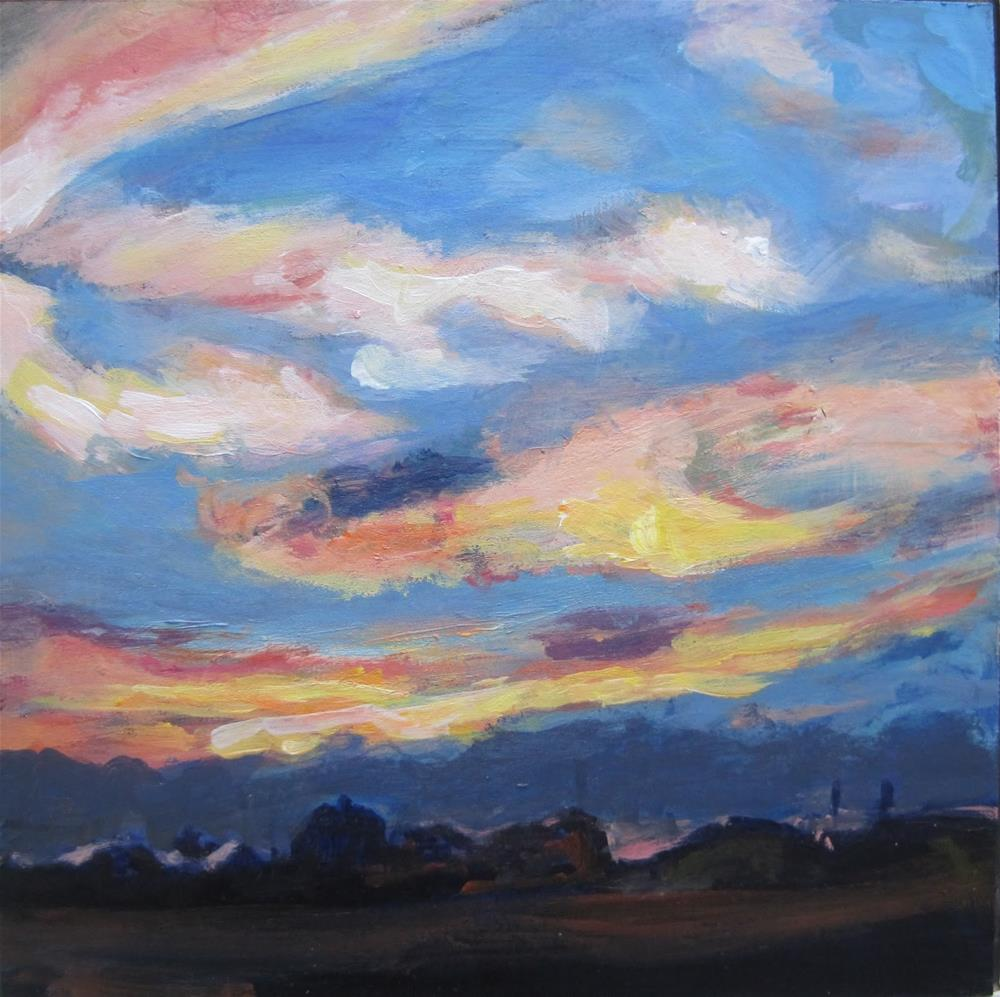 """150 Sunset Over Village"" original fine art by Diane Campion"