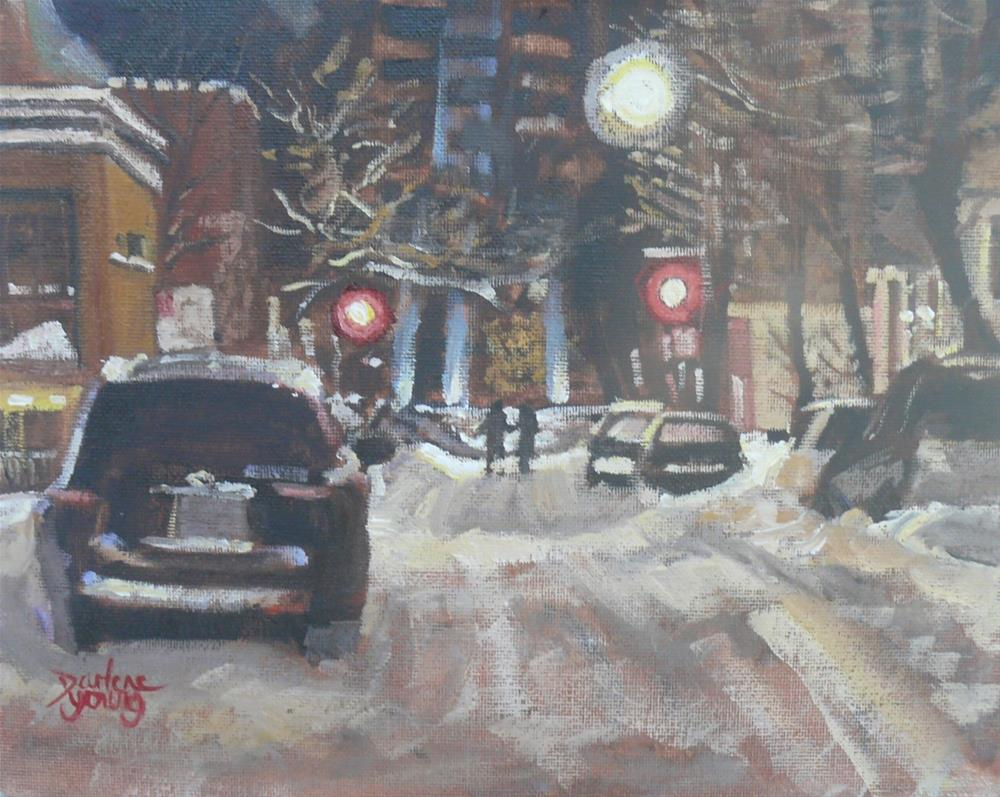 """1095 McGill Student Ghetto Winter Night, 8x10, oil on board"" original fine art by Darlene Young"