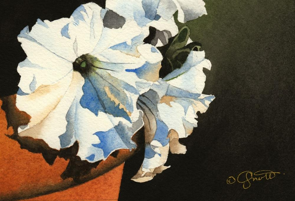 """""""Petunias in Clay Pot and thank you..."""" original fine art by Jacqueline Gnott, TWSA, WHS"""