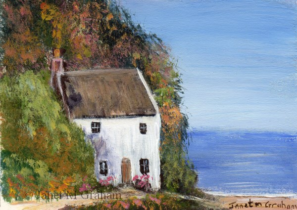 """""""Cottage by the Sea ACEO"""" original fine art by Janet Graham"""