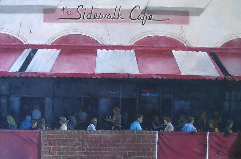 """Sidewalk Cafe"" original fine art by Peter Lee"