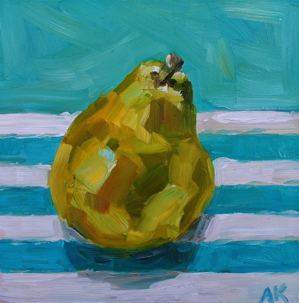 """Pear on Stripes"" original fine art by Alison Kolkebeck"
