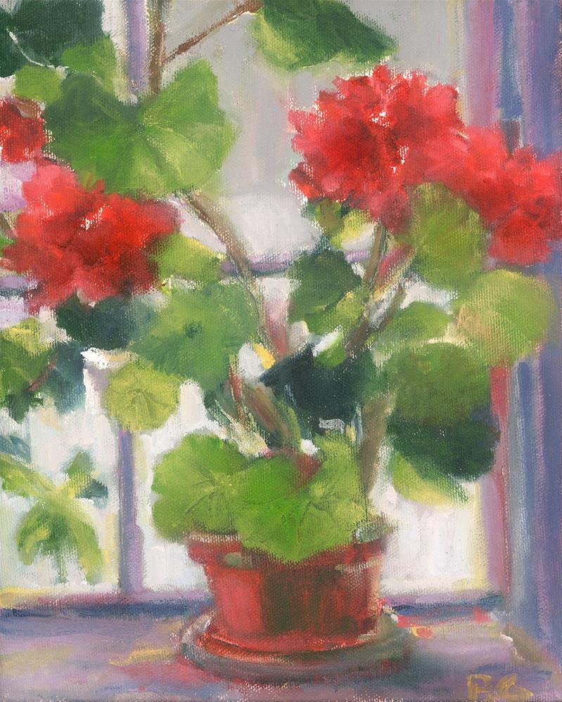"""Geranium Window"" original fine art by Pamela Gatens"