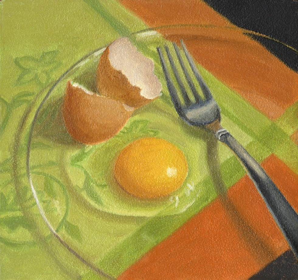 """Egg on a Plate"" original fine art by Susan Fern"