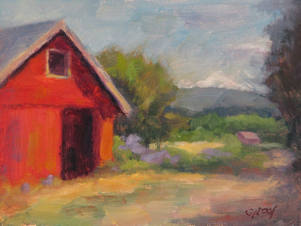 """""""Red Barn by the Hay Field"""" original fine art by Naomi Gray"""