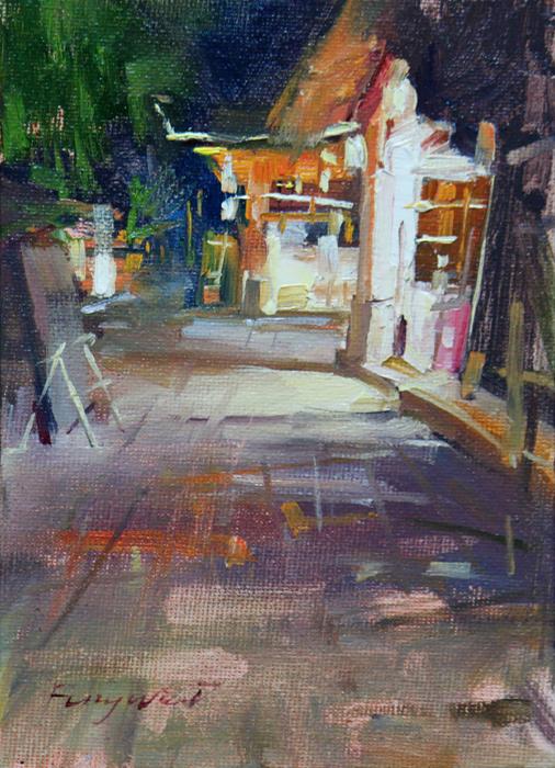 """""""Mid-night street"""" original fine art by Fongwei Liu"""