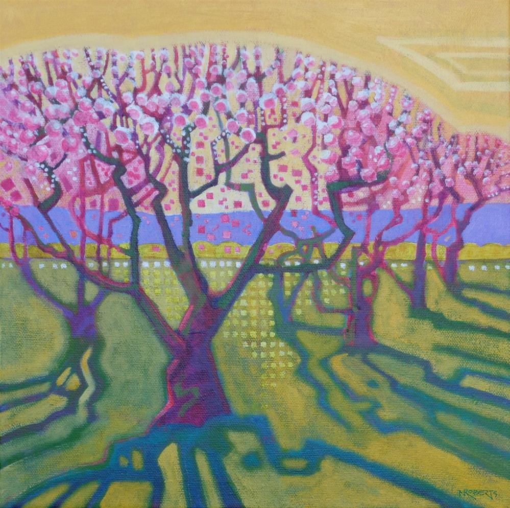"""Peach Blossoms"" original fine art by Nancy Roberts"
