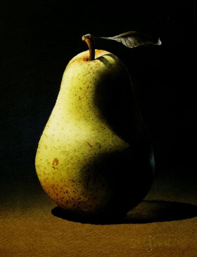 """Pear 3"" original fine art by Jacqueline Gnott, TWSA, WHS"