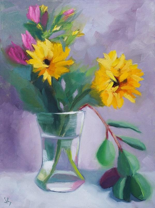 """""""Sunflowers                         16 x 12"""" original fine art by Johnna Schelling"""