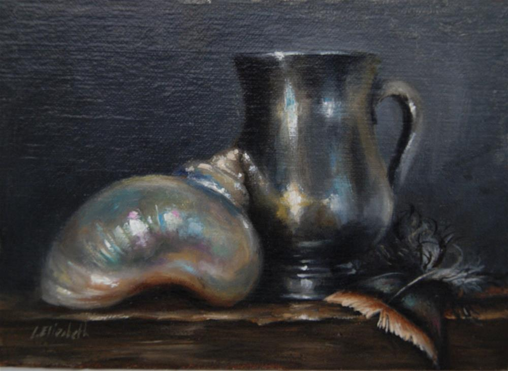 """""""Still Life with White Sea Shell, Silver Cup, and Turkey Feather,  Oil on 5x7 Linen Panel"""" original fine art by Carolina Elizabeth"""