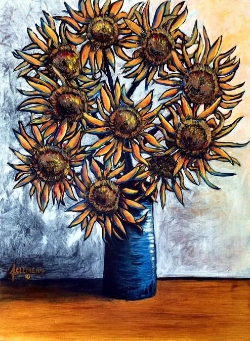 """Blue vase Sunflowers"" original fine art by Jolynn Clemens"