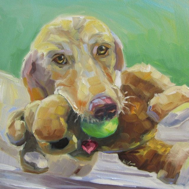 """DID YOU SAY BALL OR BUNNY?"" original fine art by Mb Warner"
