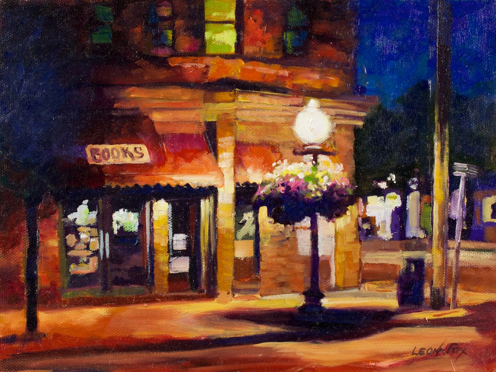 """Sandpoint Book Store"" original fine art by Leona Fox"