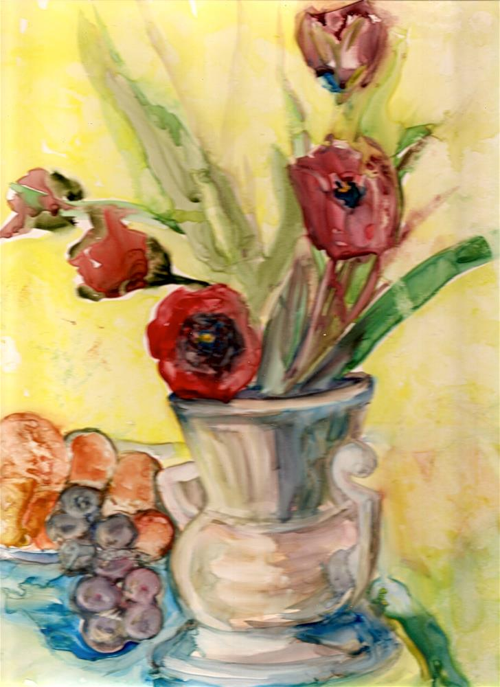 """""""9x12 Tulips on Yupo Paper Watercolor Impressionistic Style by Penny StewArt"""" original fine art by Penny Lee StewArt"""