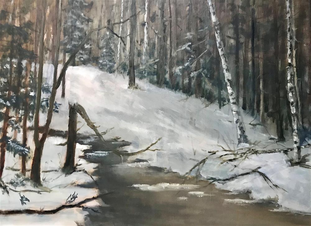 """""""white birch by the brook"""" original fine art by Betty Argiros"""