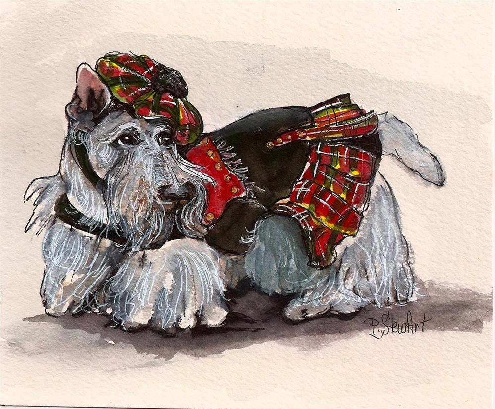 """""""5x6 White Scottie Dog with Plaid Tam Beret and Coat, Wheaton Scottish Terrier"""" original fine art by Penny Lee StewArt"""