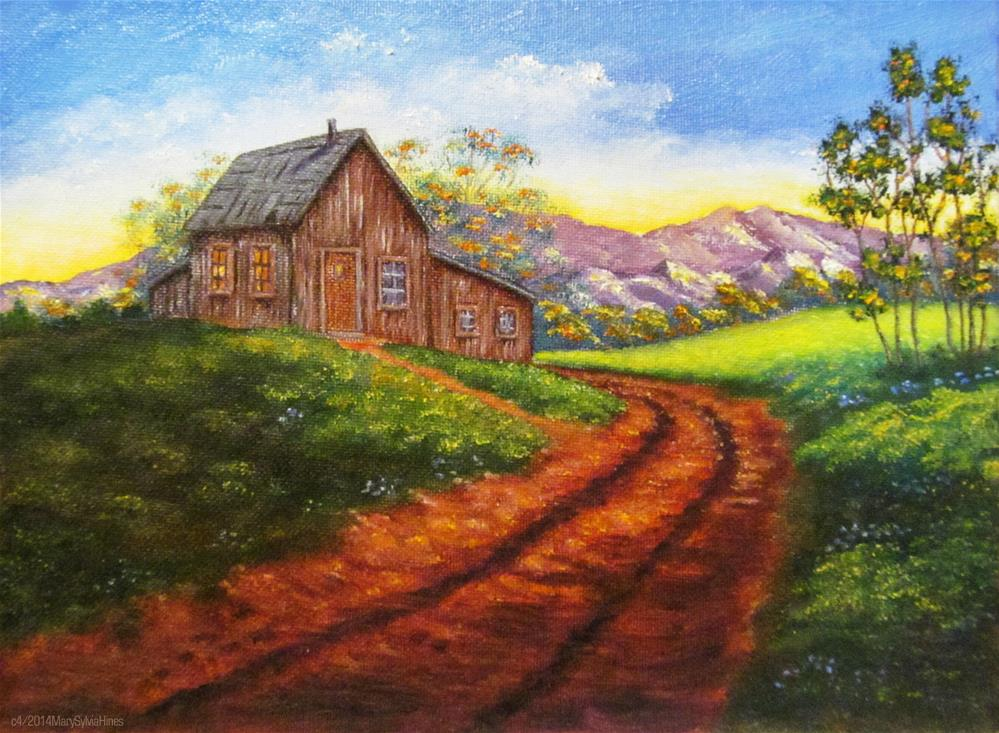 """""""Cabin On The Hill v2"""" original fine art by Mary Sylvia Hines"""