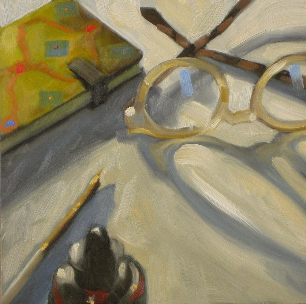 """Journal writing 6x6 oil"" original fine art by Claudia Hammer"