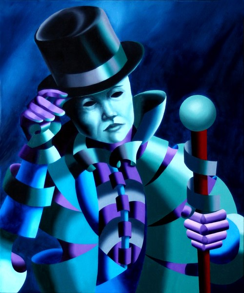 """""""Mark Adam Webster - Mask of the Magician - Abstract Geometric Futurist Figurative Oil Painting"""" original fine art by Mark Webster"""