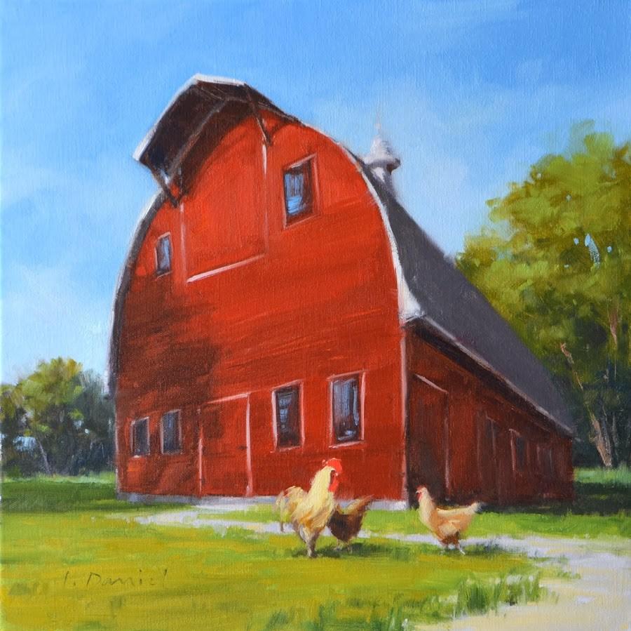 """Family Farm - Christmas Commission"" original fine art by Laurel Daniel"