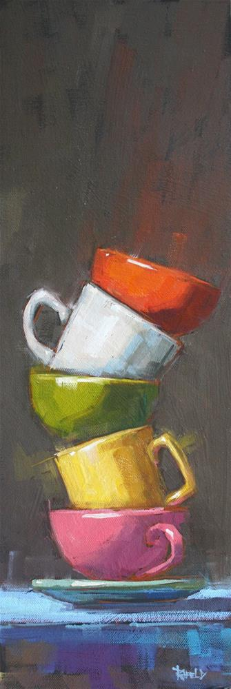 """Stack with Pink Cup"" original fine art by Cathleen Rehfeld"