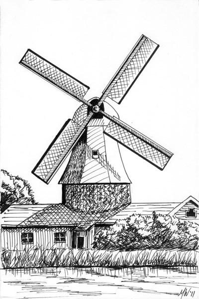 """""""Mark Webster Artist - Windmill Landscape Pen and Ink Drawing"""" original fine art by Mark Webster"""