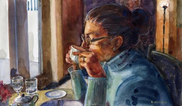"""""""Watercolor: First Sip (& #linklove)"""" original fine art by Belinda Del Pesco"""