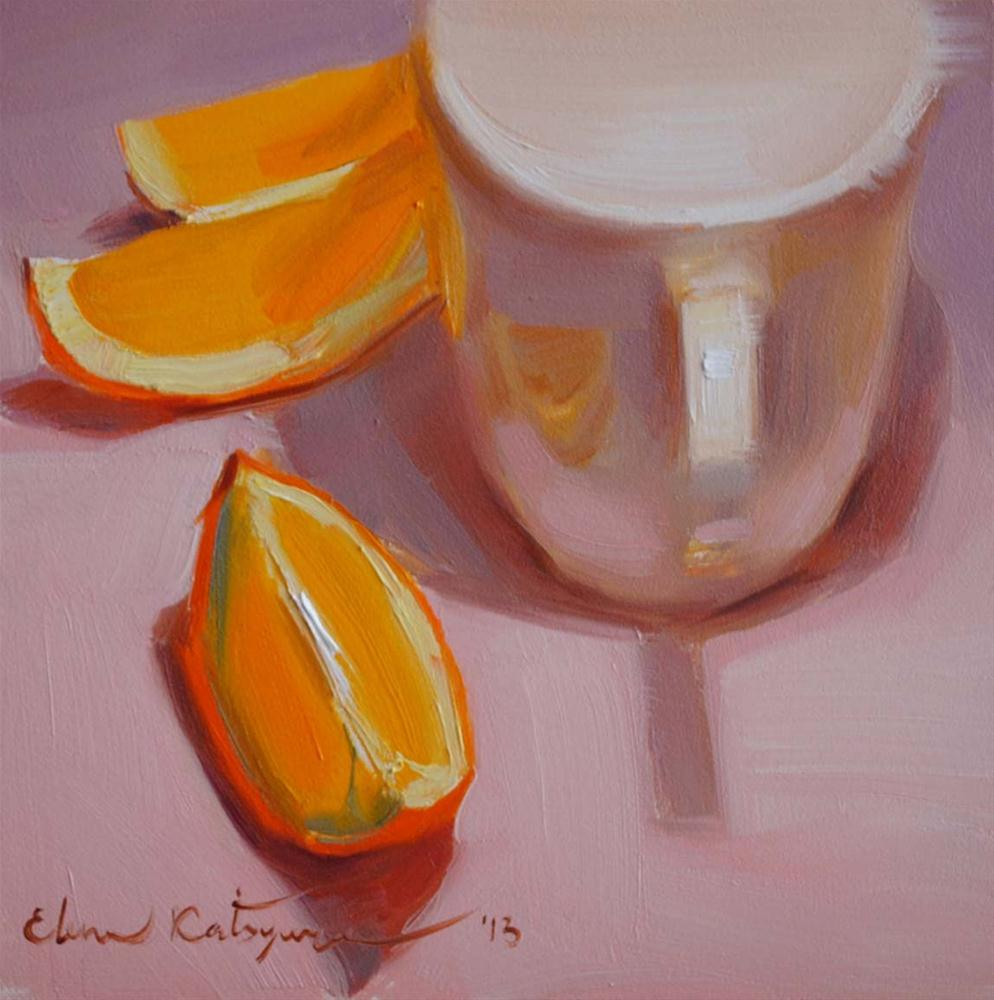 """A Cup and Three Slices"" original fine art by Elena Katsyura"