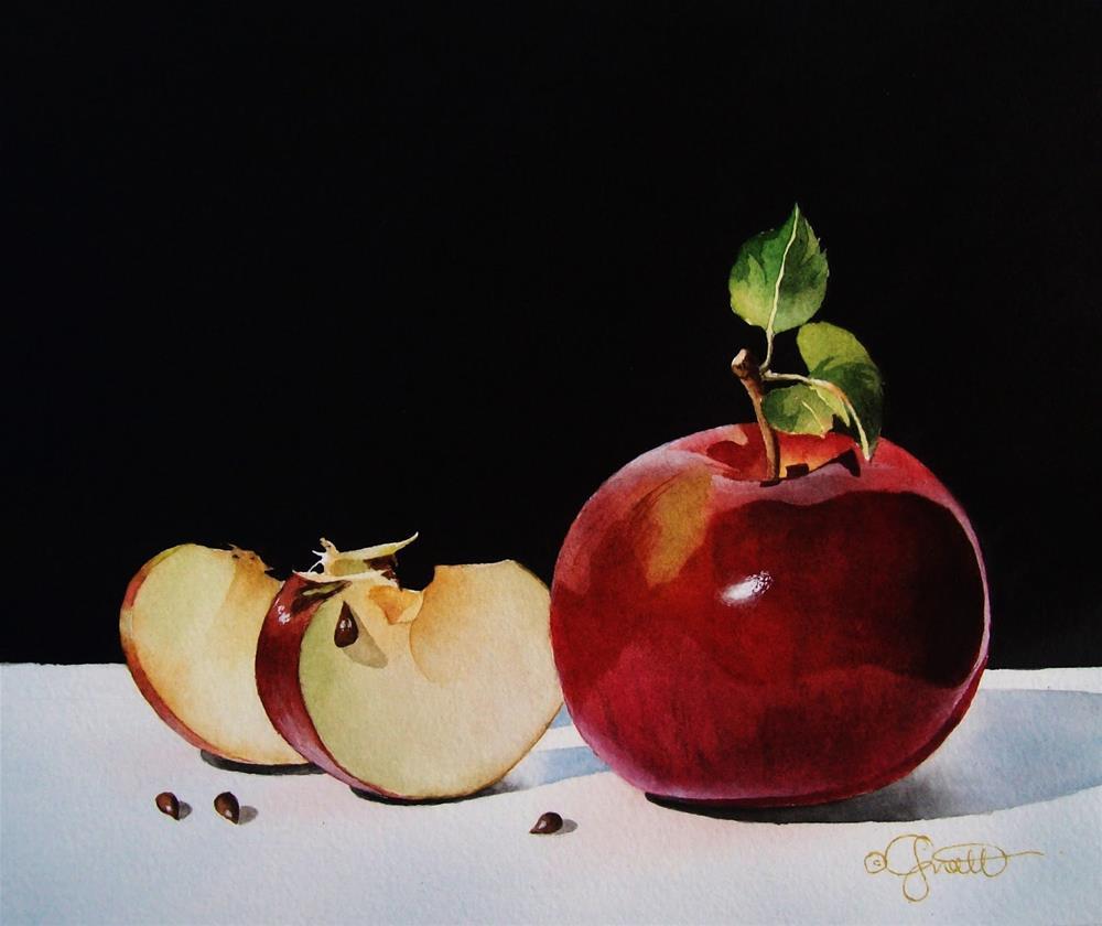 """Apple Slices"" original fine art by Jacqueline Gnott, TWSA, WHS"