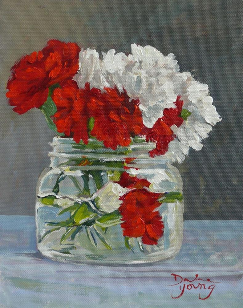 """""""874 Red and White Carnations in a Mason Jar, oil on board, 8x10"""" original fine art by Darlene Young"""