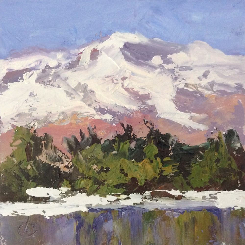 """SNOW CAPPED MOUNTAINS"" original fine art by Tom Brown"