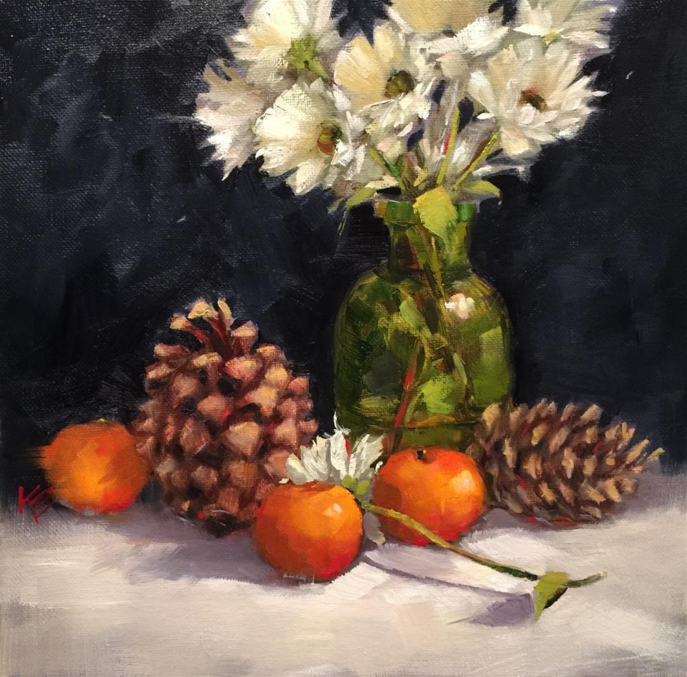 """Pine Cones & Daisies"" original fine art by Krista Eaton"