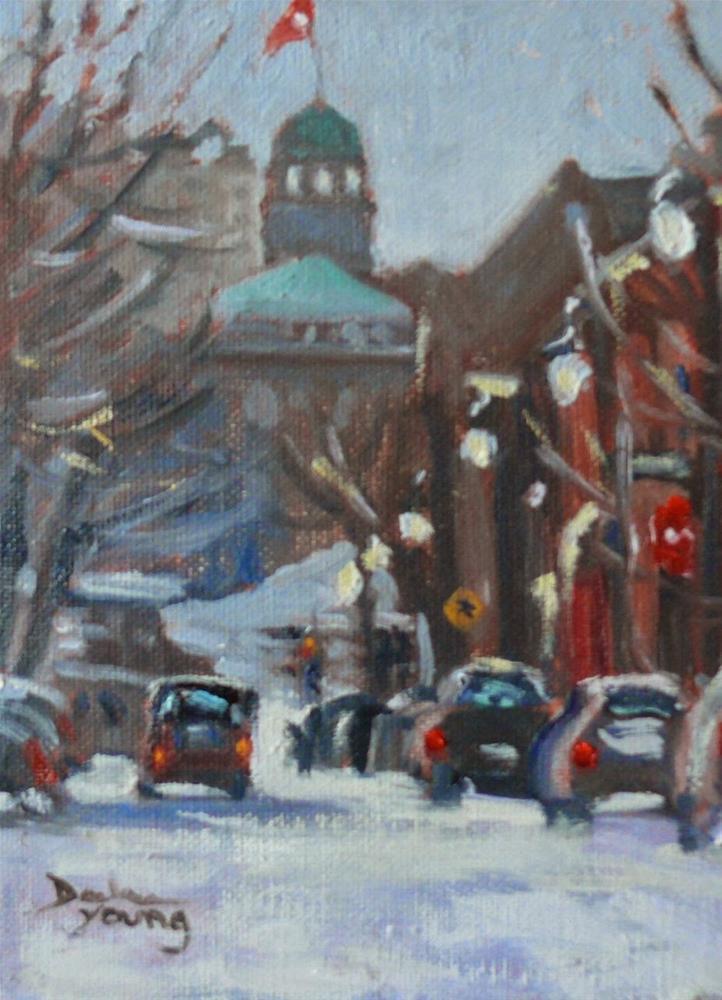 """805 Montreal Winter, McGill, 6x8, oil"" original fine art by Darlene Young"