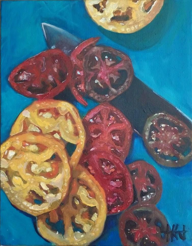 """Heirloom Tomatoes"" original fine art by Jennifer Krentz"