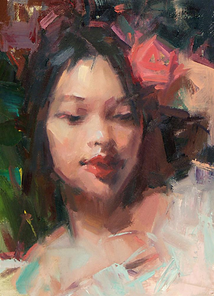 """Girl with a Rose"" original fine art by Mike Peterson"