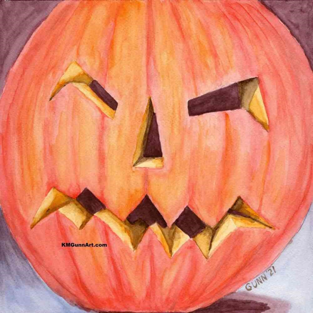 """Jack O'Lantern"" original fine art by Katrina Gunn"
